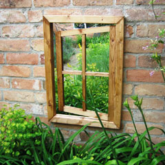 Parallax Stained Oak Garden Mirror