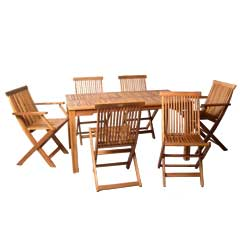 Ellister Alnwick FSC Acacia 4 Folding Chair 2 Folding Armchair 140cm Rectangular Dining Set