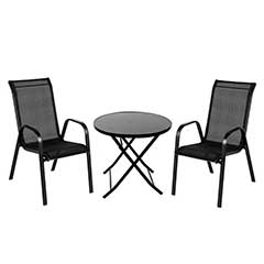 Ellister Siena 2 Stacking Chair 70cm Round Folding Table Set