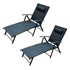 Ellister Siena 3 Position�Sun Lounger � Black x 2pcs