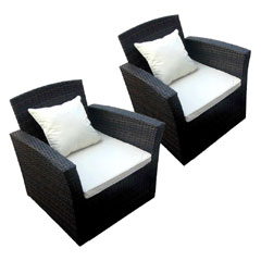 Ellister Corsica Armchairs Brown/Black - 2 Pieces