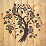 La Hacienda Treetop Owls Metal Wall Art