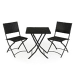 Rattan Effect Table and 2 Chairs Bistro Set