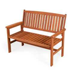 Kingfisher FSC Hardwood Garden Patio Bench - 2 Seater