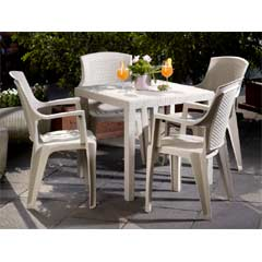 Rondeau Leisure Palmi Polypropylene 4 x Arm Chairs 79cm Square Dining Set