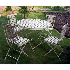 Rondeau Leisure Kingham Steel 4 Folding Chairs 90cm Circular Dining Set