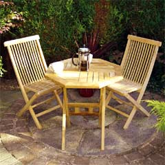 Rondeau Leisure Teak 2 Folding Chairs 59cm Octagonal Bistro Set