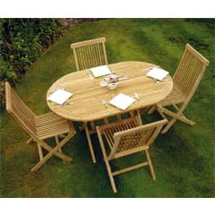 Rondeau Leisure Oregon Teak 4 x Folding Chairs 135cm Oval Dining Set