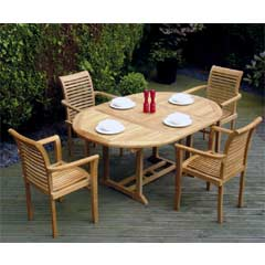 Rondeau Leisure Philadelphia Teak 4 x Armchairs 170cm Oval Dining Set