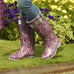Briers Historic Palaces Baroque Rubber Wellies - Aubergine