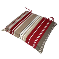 Greenfingers Square Seat Cushion 2 Pack - Red Stripe 38 x 40cm
