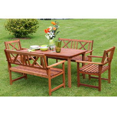 Greenfingers Wooden 6 Seater 140cm Rectangular Garden Set