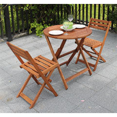 Greenfingers Windsor Wooden 2 x Folding Chairs 70cm Circular Bistro Set