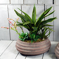 Artificial Green Potted Aloe Plant in Round Taupe Bowl