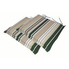 Greenfingers Square Carver Seat Cushion 2 Pack - Green Stripe 46 x 45cm