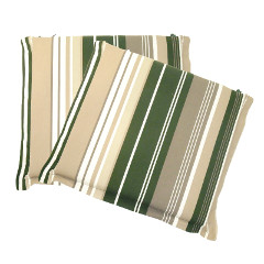 Greenfingers Square Seat Pad Cushion 2 Pack - Green Stripe 38 x 40cm
