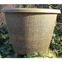 Round Wood Effect Planter - 12.5 In