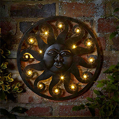Celestial Sun Wall Art with 12 LED Lights - 40cm