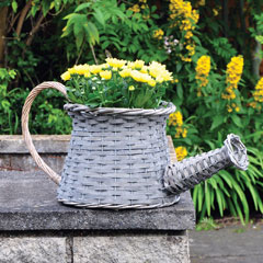 Wicker Watering Can Basket Planter 23cm high