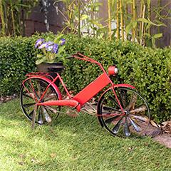 Red Metal Bicycle Planter - 56cm Width