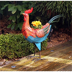 Metal Rooster Planter with Pot - 53cm Height