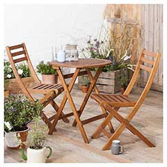Ellister Wooden 2 Folding Chair 60cm Round Bistro Set