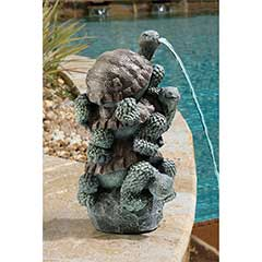 Design Toscano Stacked Tortoise Water Spitter Statue - 42cm Height