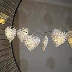 Wicker Hearts Battery Powered String Lights - 10 LEDs
