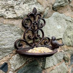 Cast Iron Wall Mounted Bird Bath and Feeder