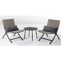 Ellister Rattan 2 Folding Chairs 55cm Circular Bistro Set