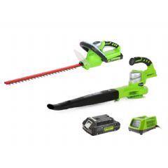 Greenworks Twin Pack Hedge Trimmer and Blower - 24v