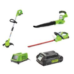 Greenworks Triple Kit Hedge Trimmer Leaf Blower and Trimmer