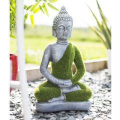La Hacienda Flocked Effect Buddah - 37cm Height
