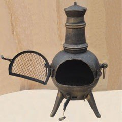 Greenfingers Rostock Cast Iron Chiminea with Grill - Bronze Effect