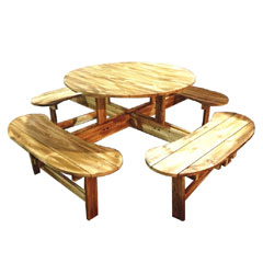 Greenfingers All-in-One Wooden Round 111cm Picnic Table & Bench Seats