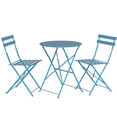 Greenfingers Steel 2 Folding Chairs 60cm Circular Bistro Set - Blue