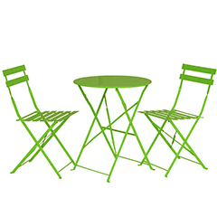Greenfingers Steel 2 Folding Chairs 60cm Circular Bistro Set - Lime Green
