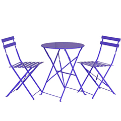 Greenfingers Steel 2 Folding Chairs 60cm Circular Bistro Set - Purple
