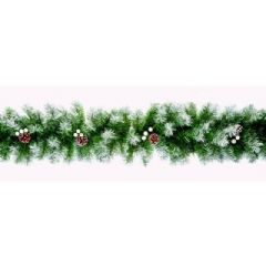 Premier Snow Tips Garland with Cones and Berries - 270cm