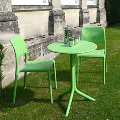 Europa Leisure Nardi 2 Bistrot Stacking Chair 61cm Round Step Patio Set - Lime
