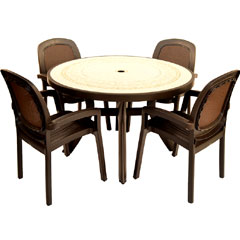 Europa Leisure Nardi 4 Beta Armchair 120cm Circular Toscana Ravenna Patio Set - Coffee