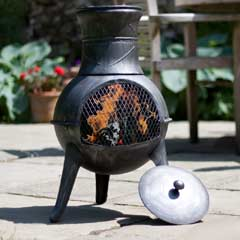 La Hacienda Squat Steel Chiminea - 72cm