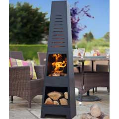 La Hacienda Skyline Steel Chiminea with Log Store - 150cm