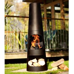 La Hacienda Circo Steel Chiminea with Log Store - 125cm