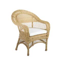 Cozy Bay Victoria Rattan Armchair with Seat Cushions - Beige