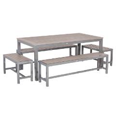 Sol Bistro Syn-Teak 10 Bench 200cm Rectangular Dining Set � Dark Walnut