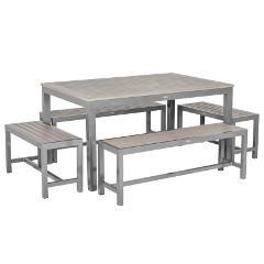 Sol Bistro Syn-Teak 8 Bench 150cm Rectangular Dining Set � Dark Walnut