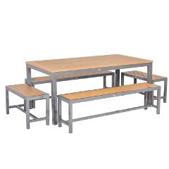 Sol Bistro Syn-Teak 8 Bench 150cm Rectangular Dining Set � Teak Asian Colour
