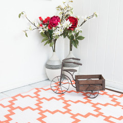 Solitude Coral and White Outdoor Rug - 120 x 180cm