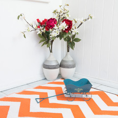 Psychedelia Orange and White Outdoor Rug - 120 x 180cm